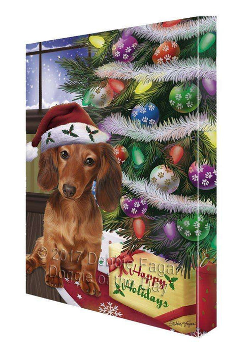 Christmas Happy Holidays Dachshunds Dog with Tree and Presents Painting Printed on Canvas Wall Art