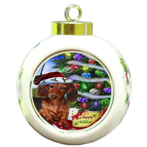 Christmas Happy Holidays Dachshunds Dog with Tree and Presents Round Ball Ornament D062