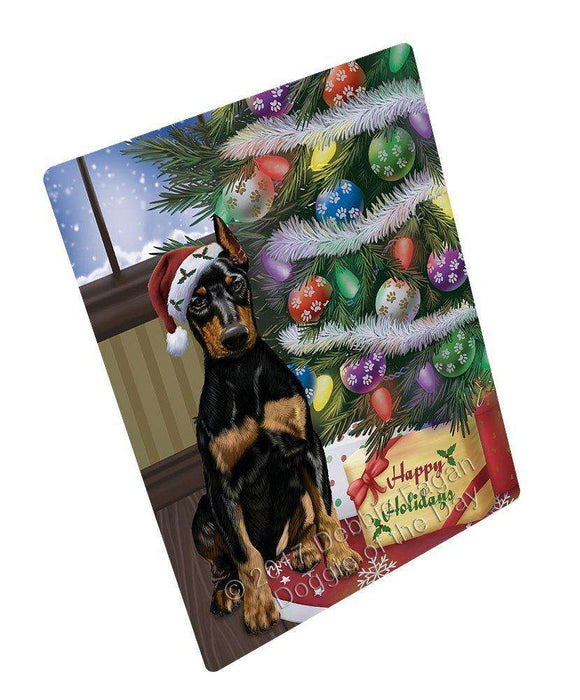 Christmas Happy Holidays Doberman Pinschers Dog with Tree and Presents Art Portrait Print Woven Throw Sherpa Plush Fleece Blanket