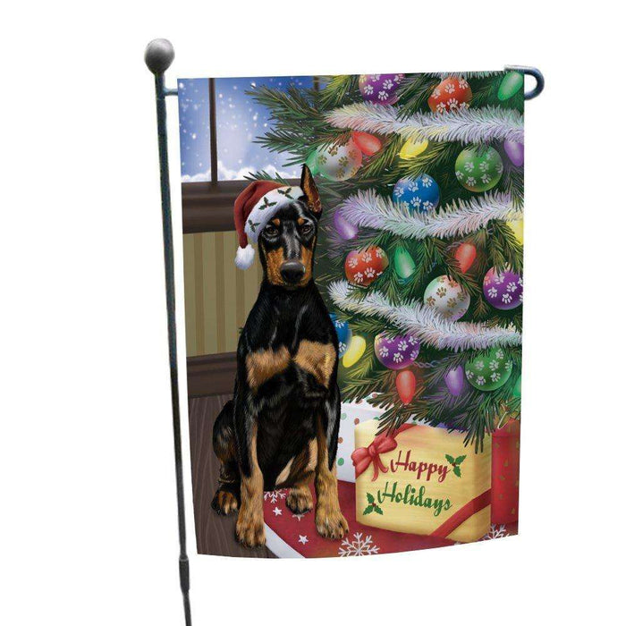 Christmas Happy Holidays Doberman Pinschers Dog with Tree and Presents Garden Flag