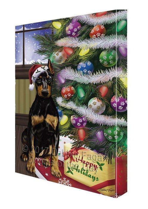 Christmas Happy Holidays Doberman Pinschers Dog with Tree and Presents Painting Printed on Canvas Wall Art