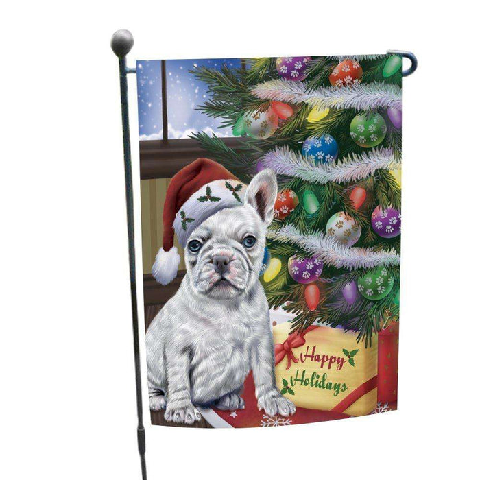 Christmas Happy Holidays French Bulldogs Dog with Tree and Presents Garden Flag