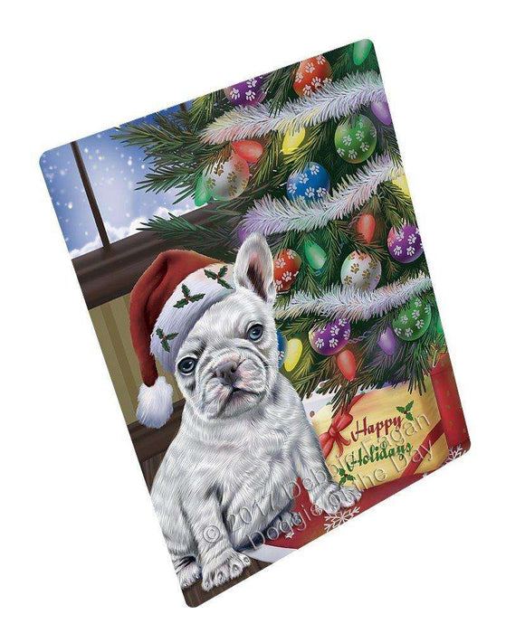 "Christmas Happy Holidays French Bulldogs Dog With Tree And Presents Magnet Mini (3.5"" x 2"")"