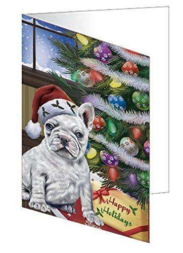 Christmas Happy Holidays French Bulldogs Dog with Tree and Presents Note Card