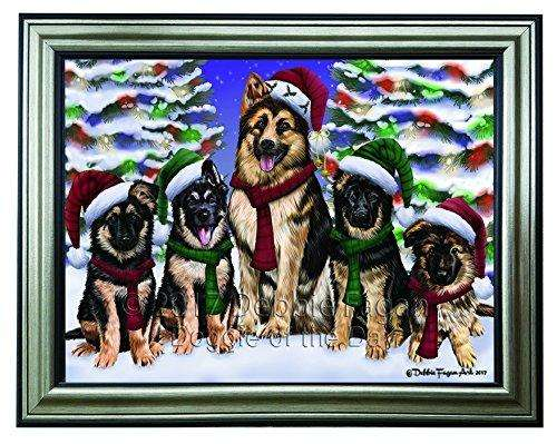 Christmas Happy Holidays German Shepherd Dogs Family Portrait Framed Print on Canvas Wall Art CNV2170