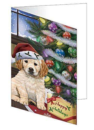 Christmas Happy Holidays Golden Retrievers Dog with Tree and Presents Note Card