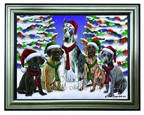 Christmas Happy Holidays Great Dane Dogs Family Portrait Framed Print on Canvas Wall Art CNV2204
