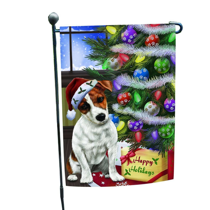 Christmas Happy Holidays Jack Russel Dog with Tree and Presents Garden Flag
