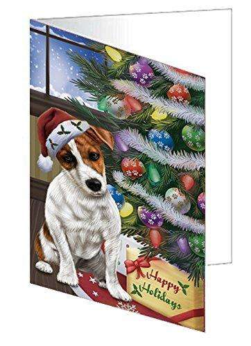 Christmas Happy Holidays Jack Russell Dog with Tree and Presents Greeting Card