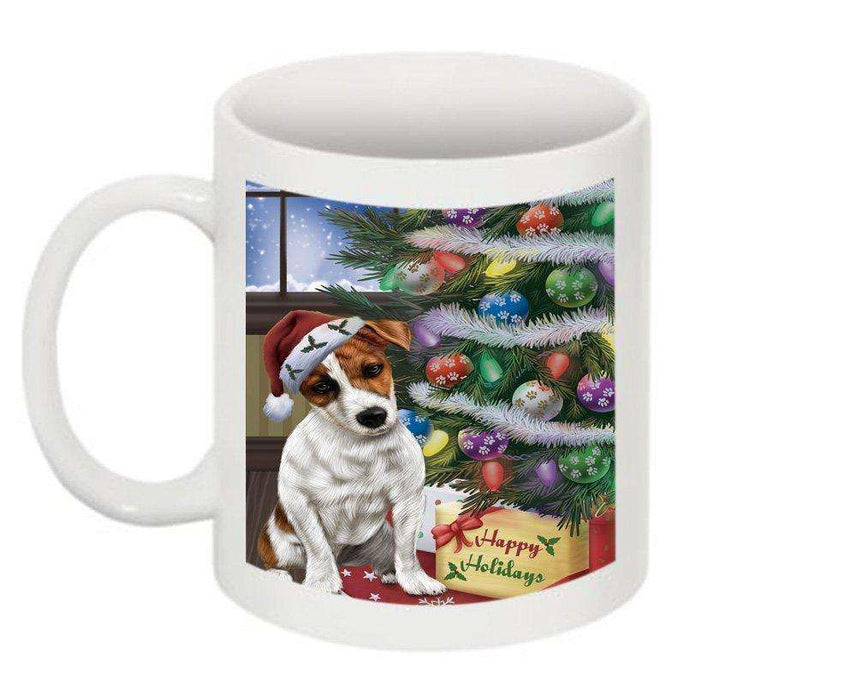 Christmas Happy Holidays Jack Russell Terrier Dog with Tree and Presents Mug CMG0062