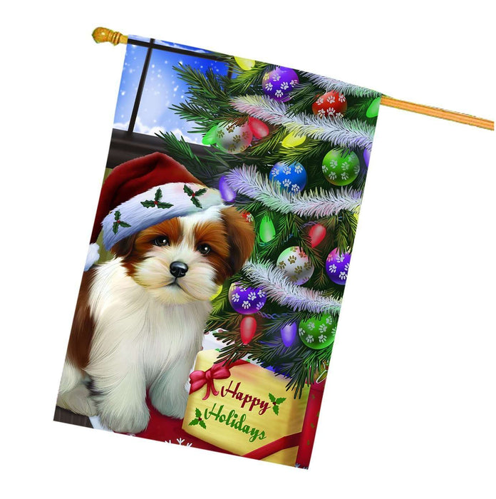 Christmas Happy Holidays Lhasa Apso Dog with Tree and Presents House Flag