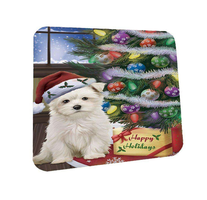 Christmas Happy Holidays Maltese Dog with Tree and Presents Coasters Set of 4