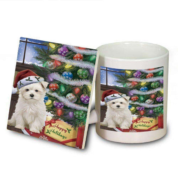 Christmas Happy Holidays Maltese Dog with Tree and Presents Mug and Coaster Set