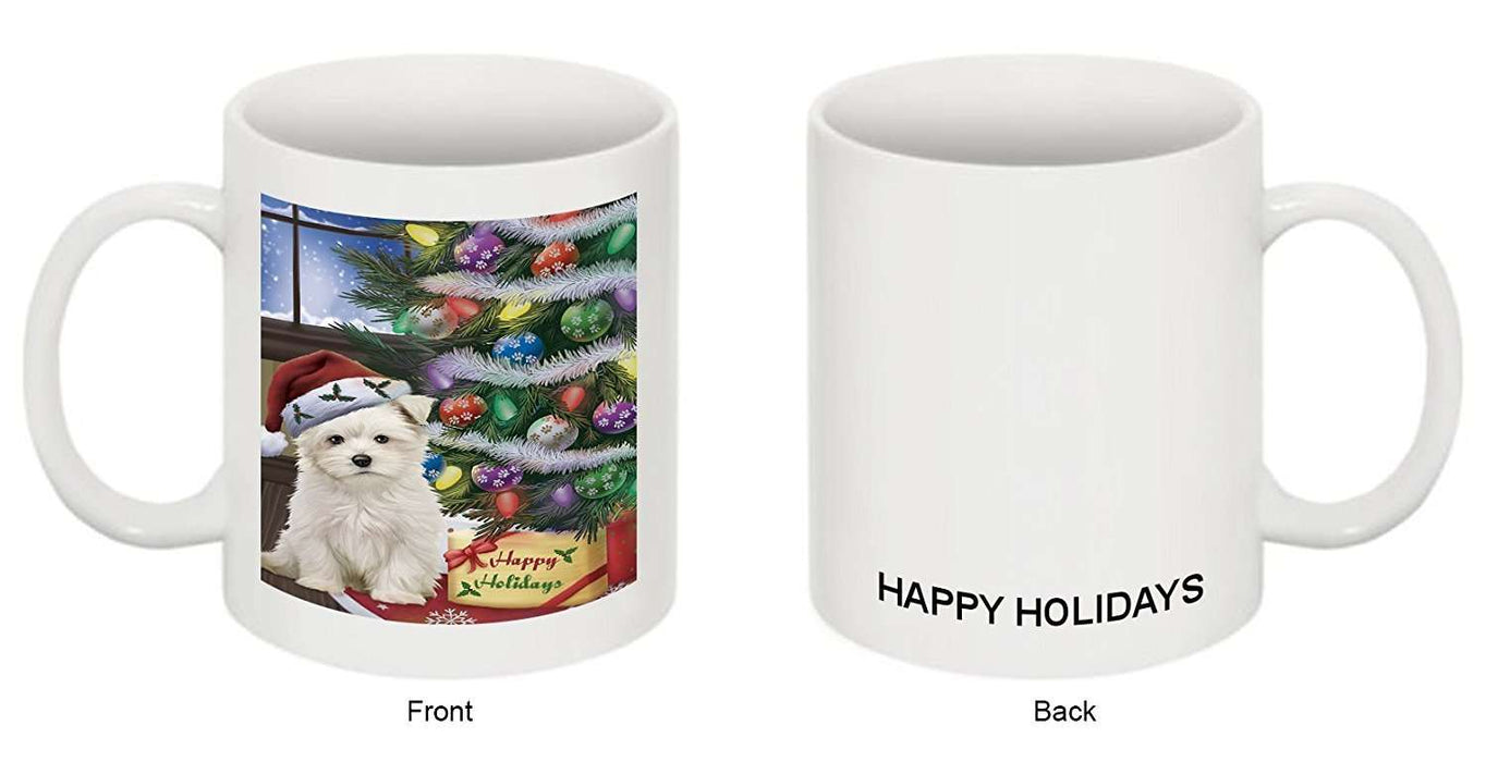Christmas Happy Holidays Maltese Dog with Tree and Presents Mug