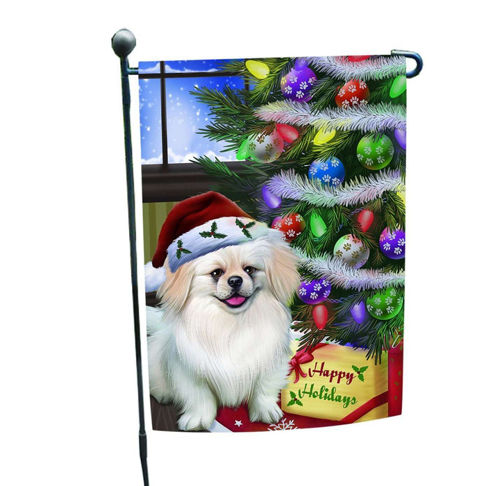 Christmas Happy Holidays Pekingese Dog with Tree and Presents Garden Flag