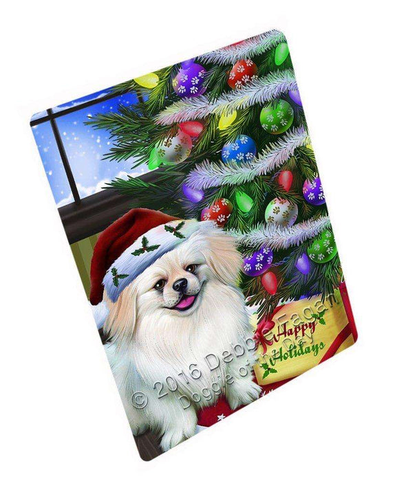 Christmas Happy Holidays Pekingese Dog with Tree and Presents Large Refrigerator / Dishwasher Magnet D019