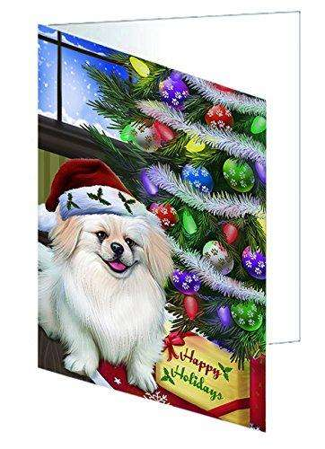 Christmas Happy Holidays Pekingese Dog with Tree and Presents Note Card