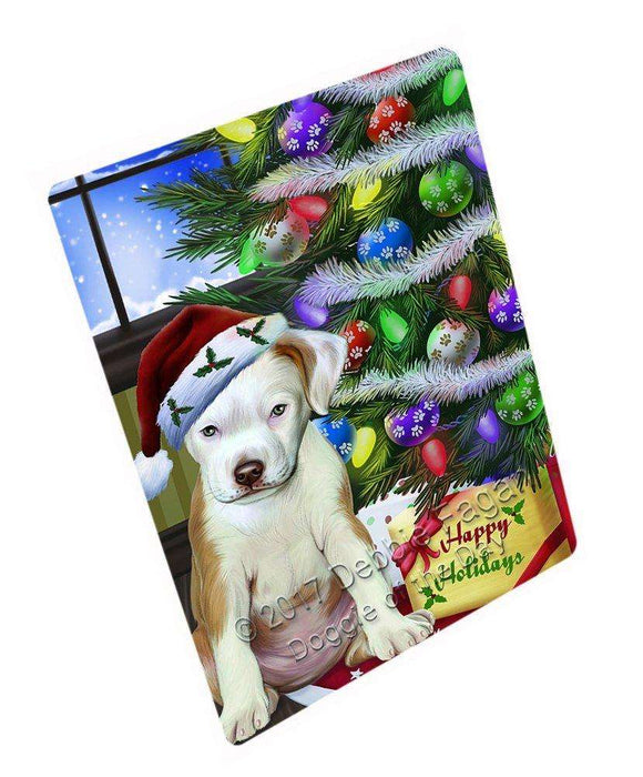 Christmas Happy Holidays Pit Bull Dog with Tree and Presents Art Portrait Print Woven Throw Sherpa Plush Fleece Blanket D002