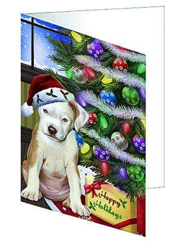 Christmas Happy Holidays Pit Bull Dog with Tree and Presents Greeting Card GCD005