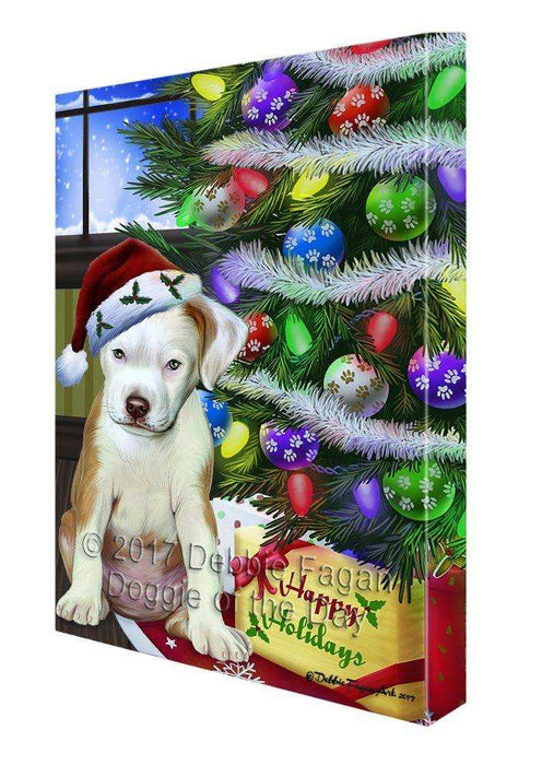 Christmas Happy Holidays Pit Bull Dog with Tree and Presents Print on Canvas Wall Art CVS009