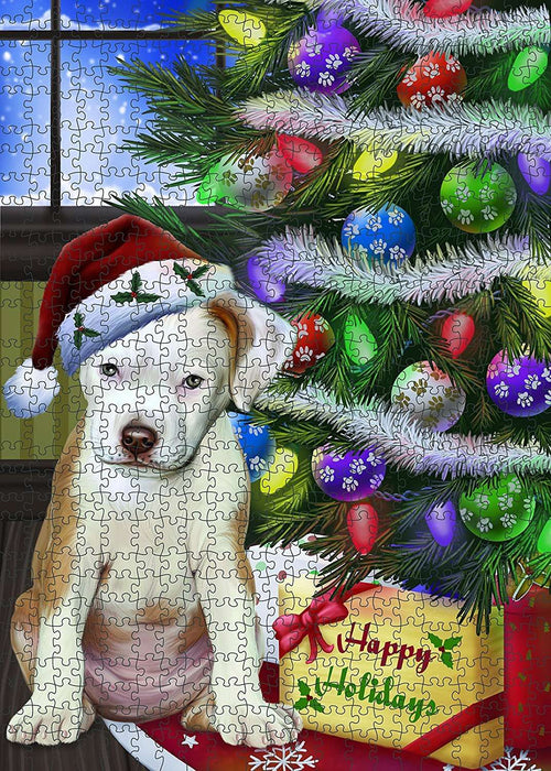 Christmas Happy Holidays Pit Bull Dog with Tree and Presents Puzzle with Photo Tin PUZL1464