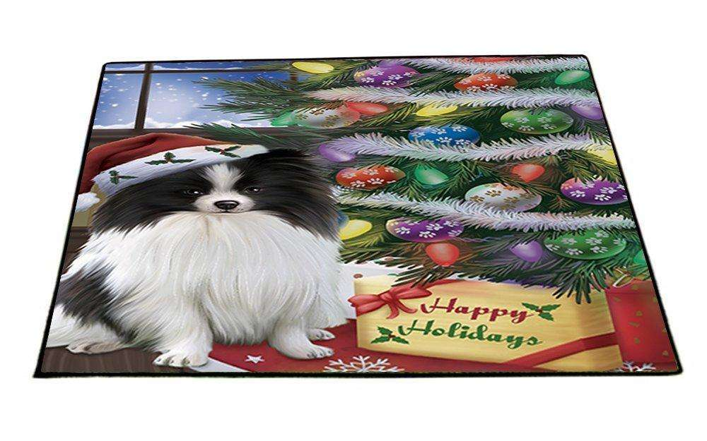 Christmas Happy Holidays Pomeranians Dog with Tree and Presents Indoor/Outdoor Floormat