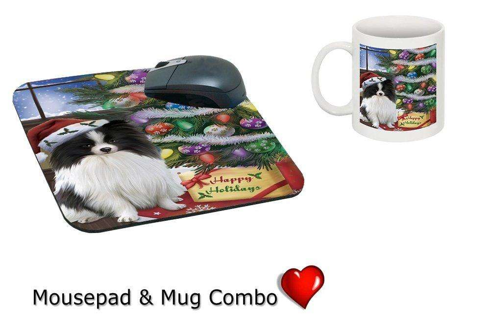 Christmas Happy Holidays Pomeranians Dog with Tree and Presents Mug & Mousepad Combo Gift Set