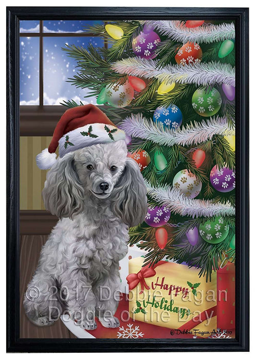 Christmas Happy Holidays Poodles Dog with Tree and Presents Framed Canvas Print Wall Art