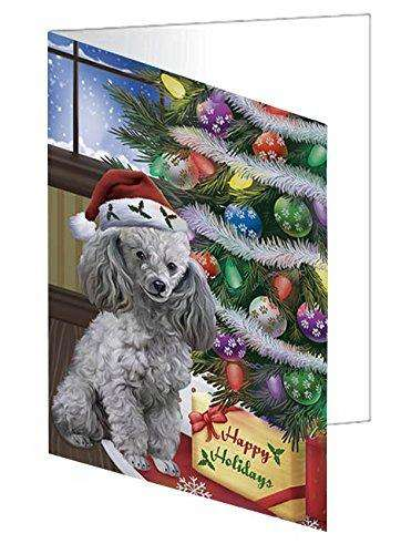 Christmas Happy Holidays Poodles Dog with Tree and Presents Greeting Card