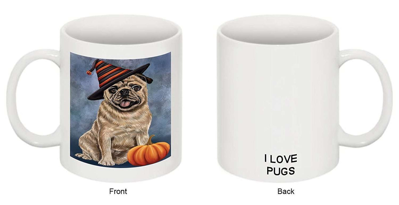 Christmas Happy Holidays Pug Adult Dog Wearing Witch Hat Mug CMG0666