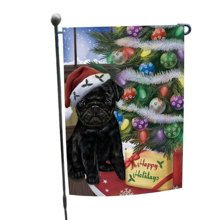 Christmas Happy Holidays Pug Dog with Tree and Presents Garden Flag