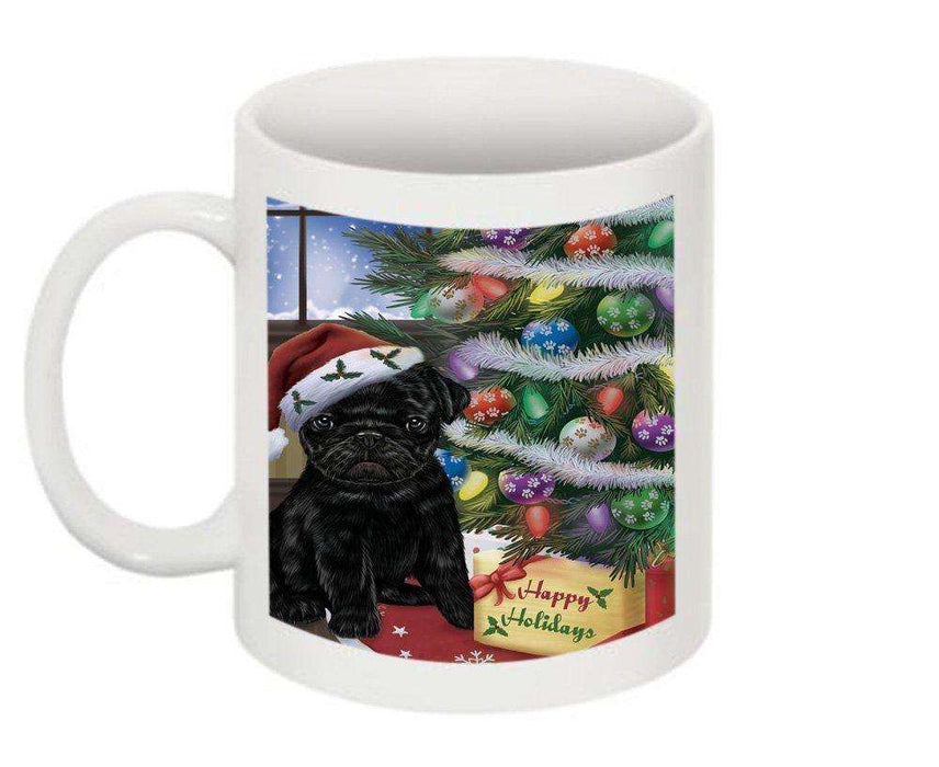Christmas Happy Holidays Pug Dog with Tree and Presents Mug CMG0065