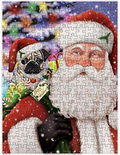 Christmas Happy Holidays Pug Dog with Tree and Presents Puzzle with Photo Tin