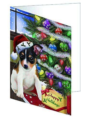 Christmas Happy Holidays Rat Terrier Dog with Tree and Presents Greeting Card GCD010
