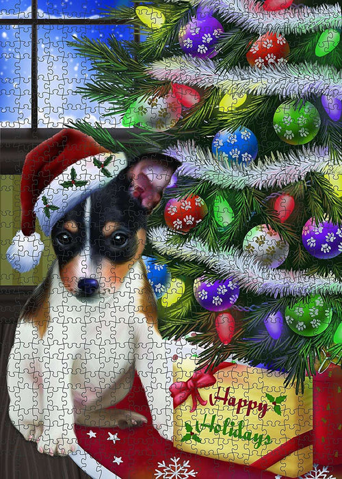Christmas Happy Holidays Rat Terrier Dog with Tree and Presents Puzzle with Photo Tin PUZL1467