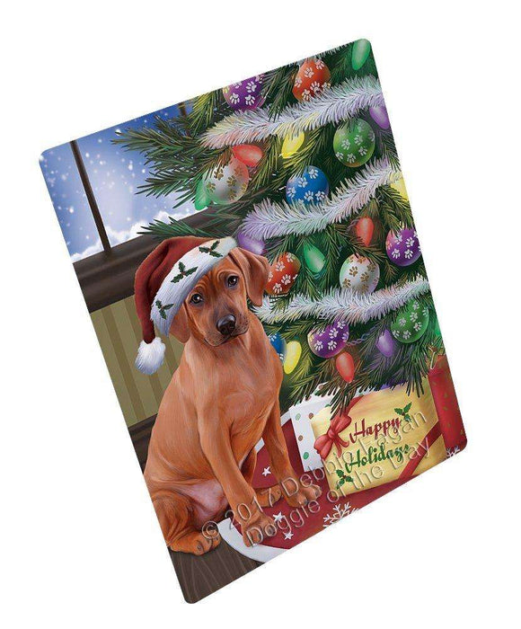 Christmas Happy Holidays Rhodesian Ridgebacks Dog with Tree and Presents Art Portrait Print Woven Throw Sherpa Plush Fleece Blanket