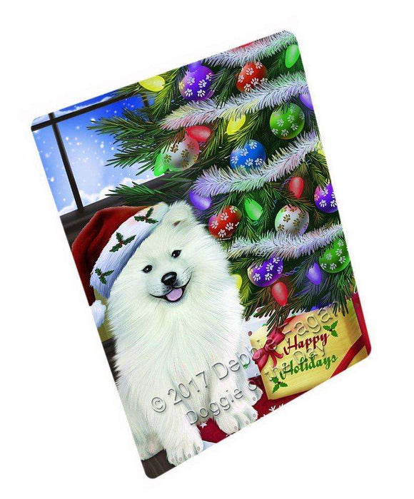 Christmas Happy Holidays Samoyed Dog with Tree and Presents Large Refrigerator / Dishwasher Magnet D004