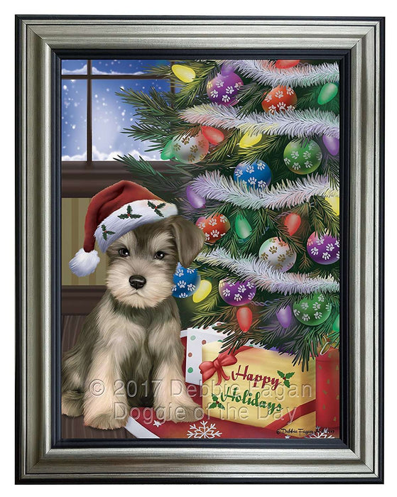 Christmas Happy Holidays Schnauzers Dog with Tree and Presents Framed Canvas Print Wall Art