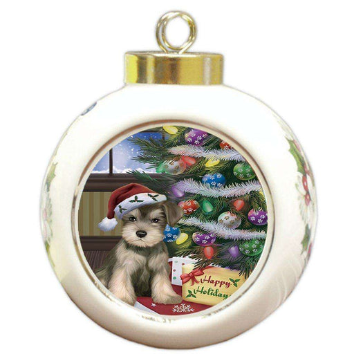 Christmas Happy Holidays Schnauzers Dog with Tree and Presents Round Ball Ornament
