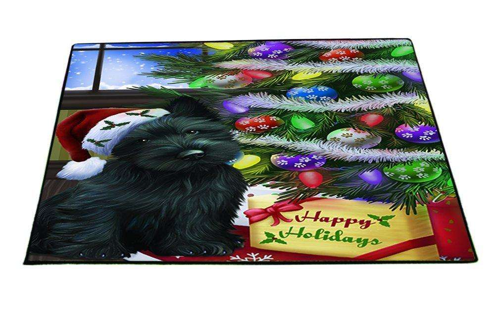 Christmas Happy Holidays Scottish Terrier Dog with Tree and Presents Indoor/Outdoor Floormat