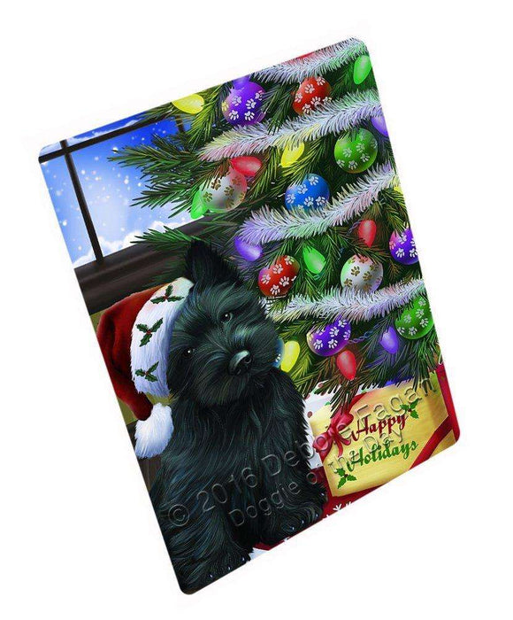 Christmas Happy Holidays Scottish Terrier Dog with Tree and Presents Large Refrigerator / Dishwasher Magnet D020