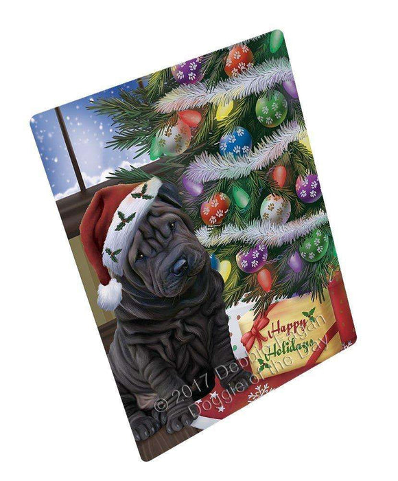 "Christmas Happy Holidays Shar Pei Dog With Tree And Presents Magnet Mini (3.5"" x 2"")"