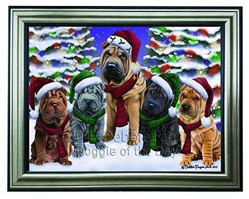 Christmas Happy Holidays Shar Pei Dogs Family Portrait Framed Print on Canvas Wall Art CNV2391