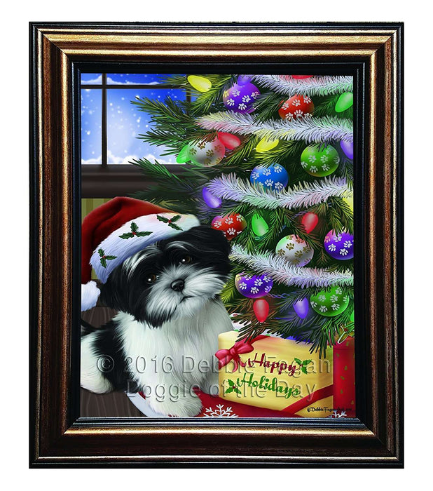 Christmas Happy Holidays Shih Tzu Dog with Tree and Presents Framed Canvas Print Wall Art