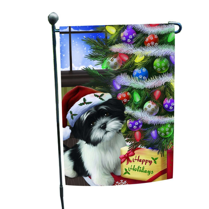 Christmas Happy Holidays Shih Tzu Dog with Tree and Presents Garden Flag