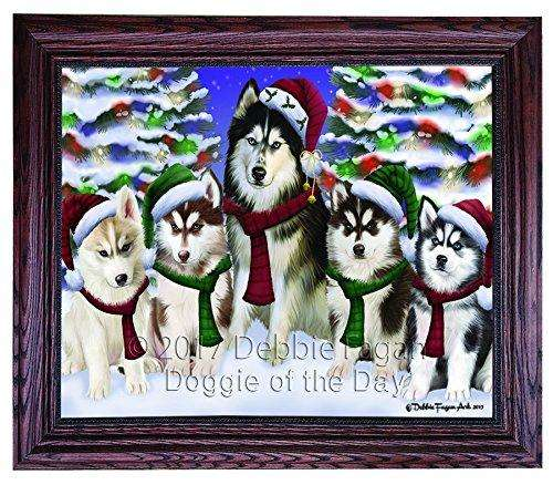 Christmas Happy Holidays Siberian Husky Dogs Family Portrait Framed Print on Canvas Wall Art CNV2459