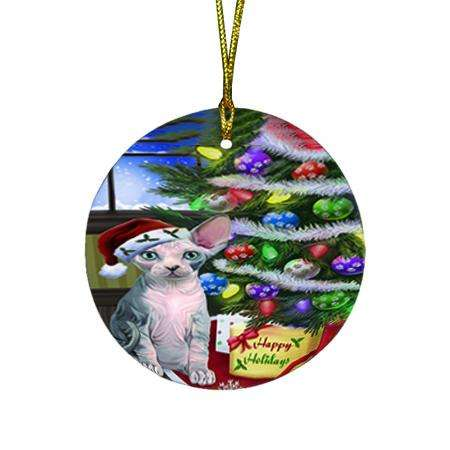 Christmas Happy Holidays Sphynx Cat with Tree and Presents Round Flat Christmas Ornament RFPOR53466