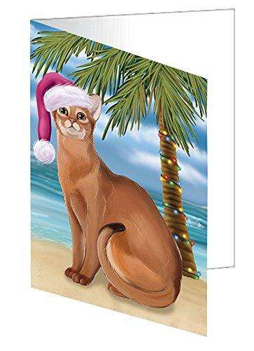 Christmas Happy Holidays Summer Time Abyssinian Cat on Beach Greeting Card GCD1825