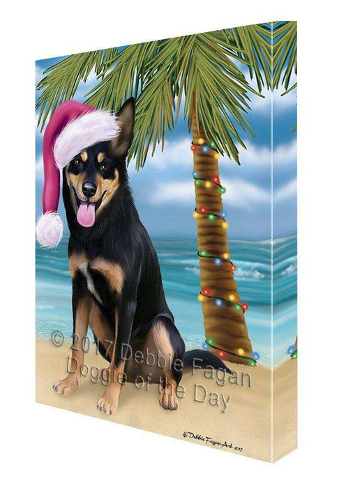 Christmas Happy Holidays Summer Time Australian Kelpies Beach Adult Dog Print on Canvas Wall Art CVS1215