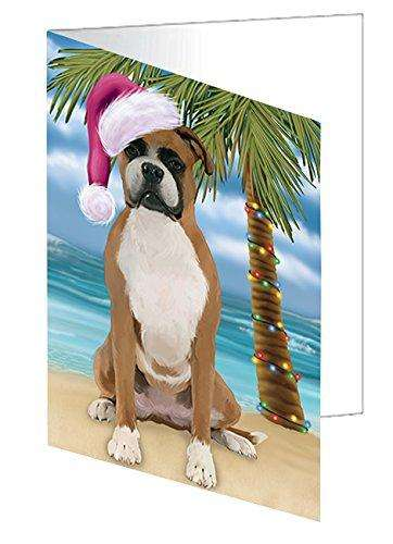 Christmas Happy Holidays Summer Time Boxer Dog on Beach Greeting Card GCD1960